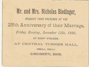 1890 25th Anniversary Invitation
