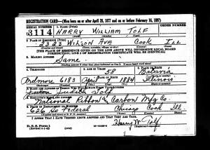 WWII Draft Registration of Harry W. Tolf