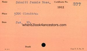 1912 Ohio Death Card Schmitt, Jennie Rose