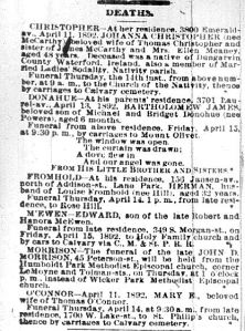 Chicago Daily News April 13, 1892  page 9 - deaths