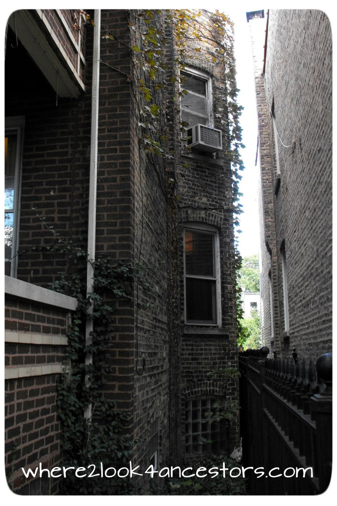 the gangway between buildings on Whipple Street