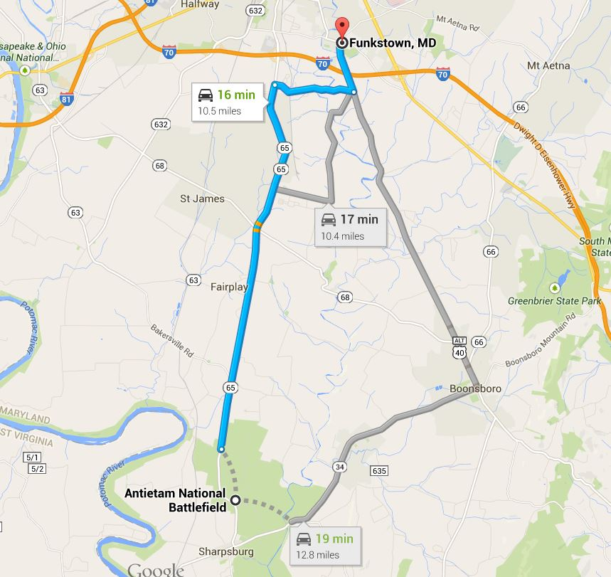 Battle of Antietam Map Map Funkstown to Antietam