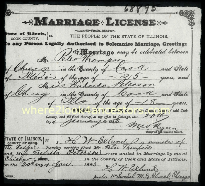 1883 marriage certificate of Peter Thompson and Maria Peterson