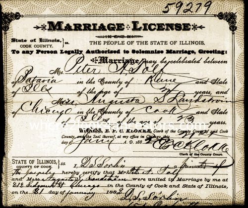 1882 Marriage Certificate Tolf and Landstrom