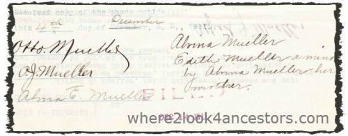1911 Mueller, Jacob Koebe Probate Record