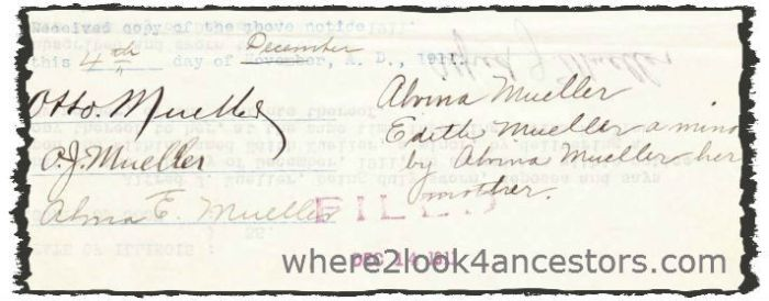 1911 Mueller, Jacob Koebe Probate Record