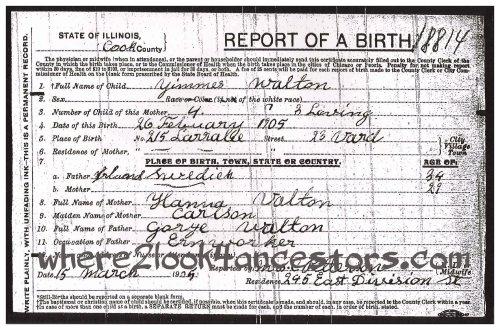 John George Walton's birth certificate