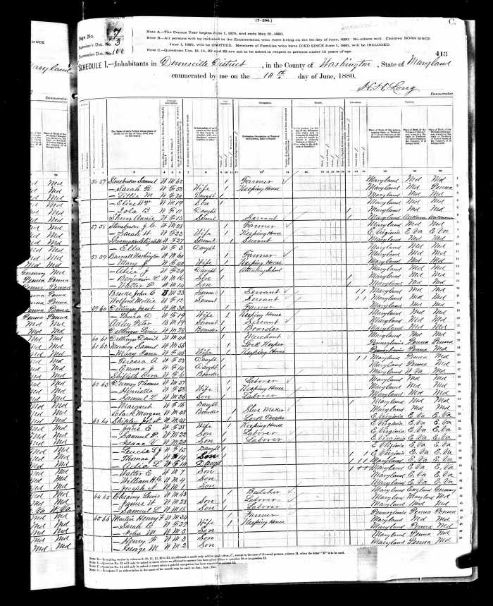 1880 US Census MD Clark, Morgan Henry