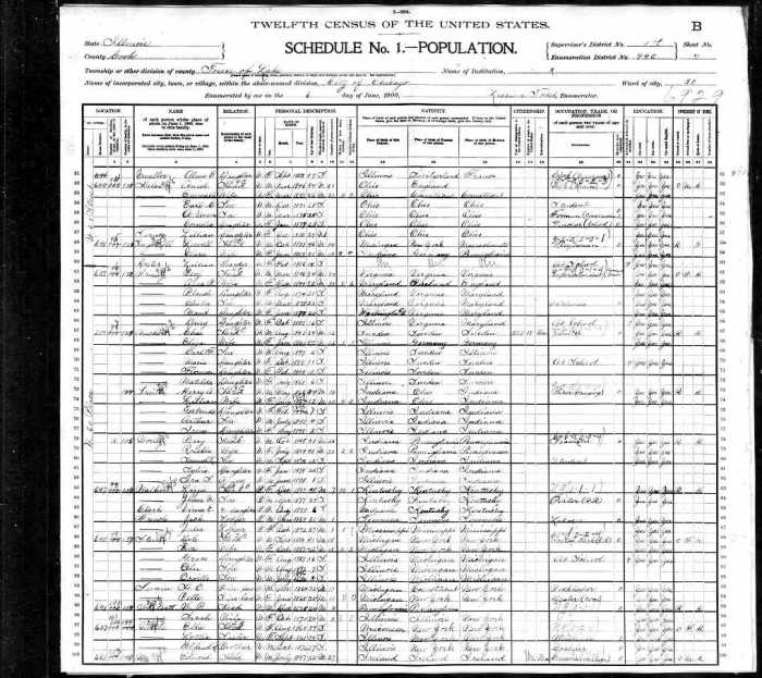 1900 US Census IL Mueller 2 of 2