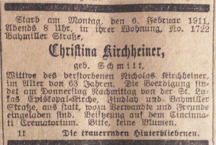 1911 02-08 Obit Cincinnati Volksblatt pg 8 col 4.jpg