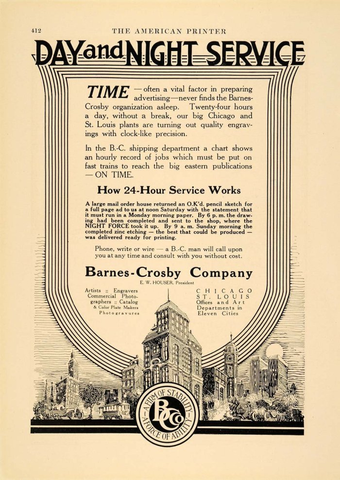 1913 Ad Barnes Crosby Company Advertising Art Design - Schmitt, Carl Jules