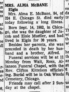 1967 06-10 McBane, Alma nee Mueller Obit