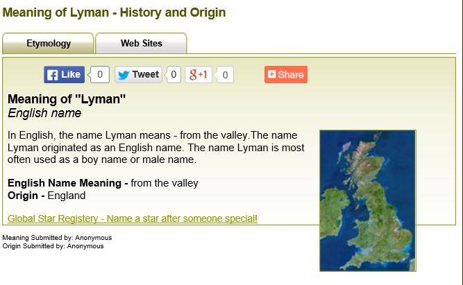 2015 05-31 Lyman from meaning-of-names dot com