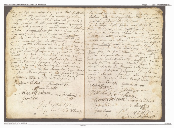 1725 Marriage Banns Adam and Bouche