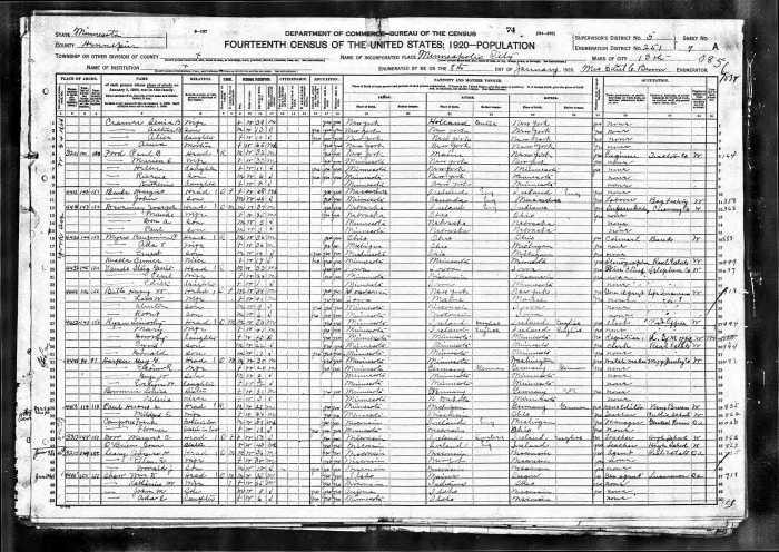 1920 US Census MN Ryan