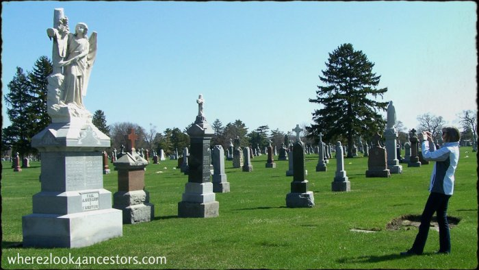 A beautiful headstone on a beautiful day in St. Adalbert's Cemetery in Niles Illinois.