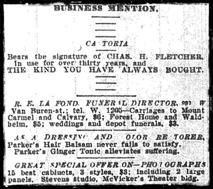 Ad from page 11 of the January 11, 1905 issue of the Chicago Daily News