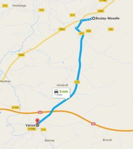 2016 01-09 Map of Varize to Boulay