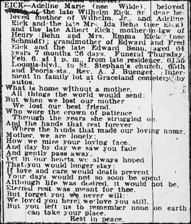 2016 02-07 CDN 1919 02-03 Sunday's Obituary