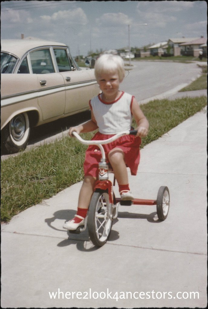 The author on a tricycle at http://where2look4ancesors.com