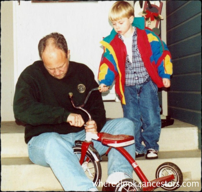 Grandpa fixes bike at http://where2look4ancestors.com