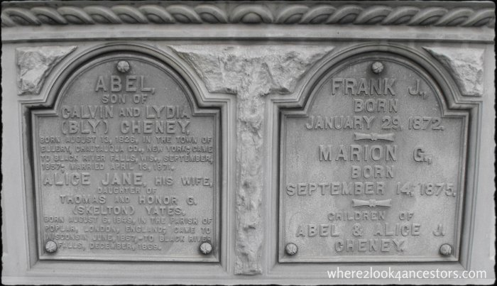 The Cheney family monument in Riverside Cemetery, Black River Falls Wisconsin