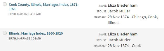 1874 11-28 MC Mueller, Jacob and Biedenharn, Eliza index
