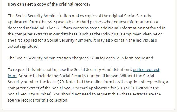 Request For Deceased IndividualS Social Security Record